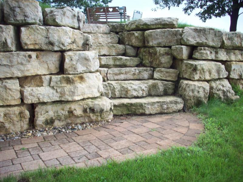 The gallery for limestone retaining wall for Limestone landscape rock